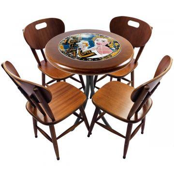mesa redonda 4 cadeiras madeira maciça bar e lanchonete Go hard or Go Home - Empório Tambo