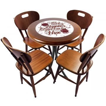 mesa redonda 4 cadeiras madeira maciça bar e lanchonete Happiness - Empório Tambo