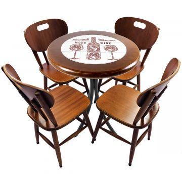 mesa redonda 4 cadeiras madeira maciça bar e lanchonete More Wine - Empório Tambo