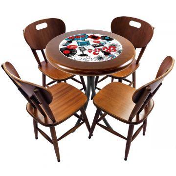 mesa redonda 4 cadeiras madeira maciça bar e lanchonete Oh My - Empório Tambo
