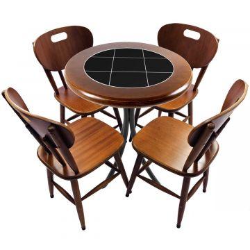 Mesa redonda 4 cadeiras madeira maciça bar e lanchonete Preto - Empório Tambo