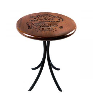Mesa de canto redonda retro em madeira para sala Familia e amigos - Empório Tambo
