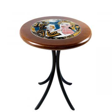 Mesa de canto redonda em azulejo para sala Go hard or Go Home - Empório Tambo