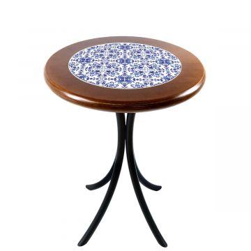 Mesa de canto redonda em azulejo para sala Português - Empório Tambo