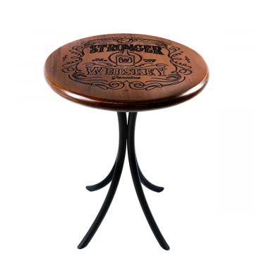 Mesa de canto redonda retro em madeira para sala Stronger Whiskey - Empório Tambo