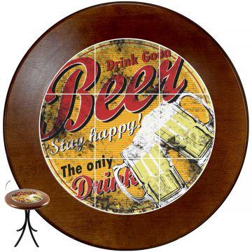 Mesa de canto redonda em azulejo para sala Beer Stay Happy - Empório Tambo