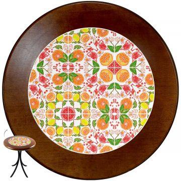 Mesa de canto redonda em azulejo para sala Frutas - Empório Tambo