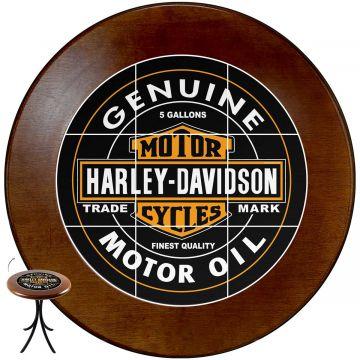 Mesa de canto redonda em azulejo para sala Harley Davidson Genuine - Empório Tambo