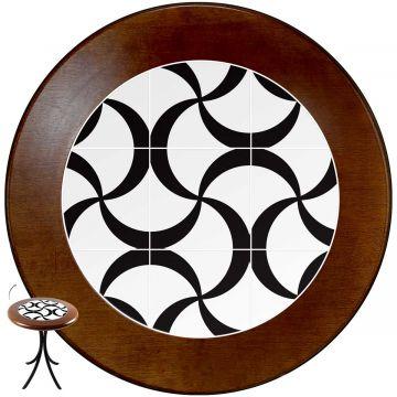 Mesa de canto redonda em azulejo para sala Luar - Empório Tambo