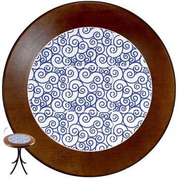 Mesa de canto redonda em azulejo para sala Ondulação - Empório Tambo