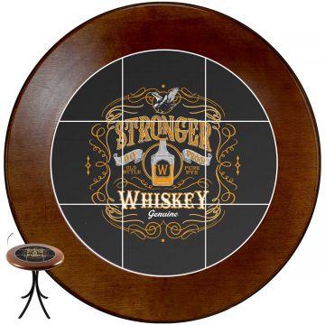 Mesa de canto redonda em azulejo para sala Stronger Whiskey - Empório Tambo