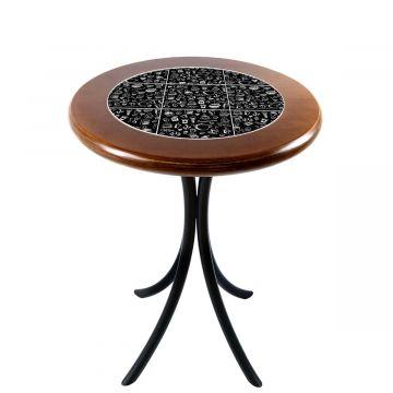 Mesa de canto redonda em azulejo para sala Textura Café - Empório Tambo