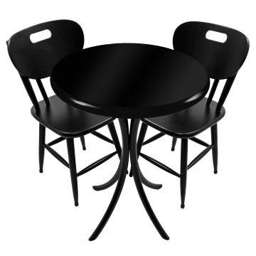 Mesa pequena para apartamento em madeira com 2 cadeiras Laqueada Preta - Empório Tambo