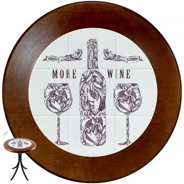 Mesa de canto redonda em azulejo para sala More Wine - Empório Tambo