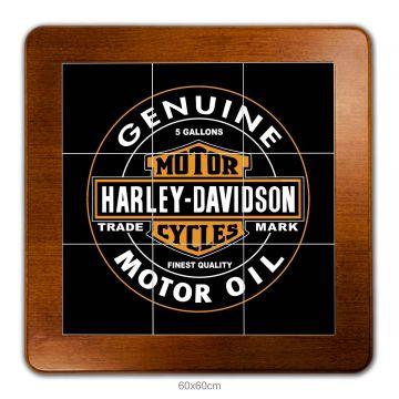 Mesa lanchonete madeira retro vintage com 4 lugares Harley Davidson Genuine - Empório Tambo