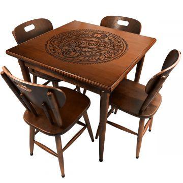 Mesa para lanchonete de madeira maciça com 4 lugares Weissbier - Empório Tambo