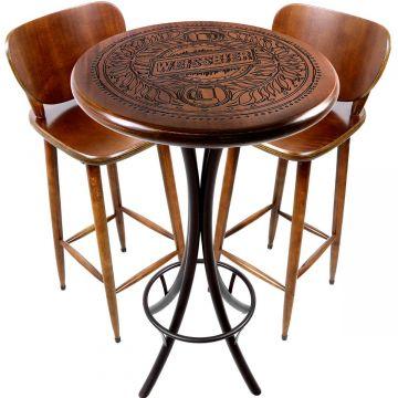 Mesa de barzinho madeira alta redonda com 2 banquetas Weissbier - Empório Tambo
