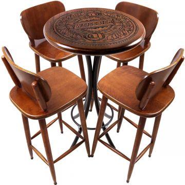 Mesa Pequena com 4 banquetas redonda para cozinha Weissbier - Empório Tambo
