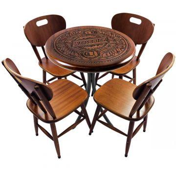 Mesa de madeira com 4 cadeiras Weissbier - Empório Tambo