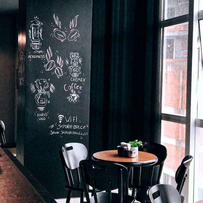 Mesa, cadeiras e parede de giz com desenhos de café