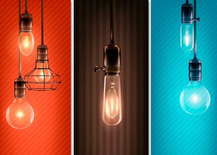 vários formatos de lâmpadas