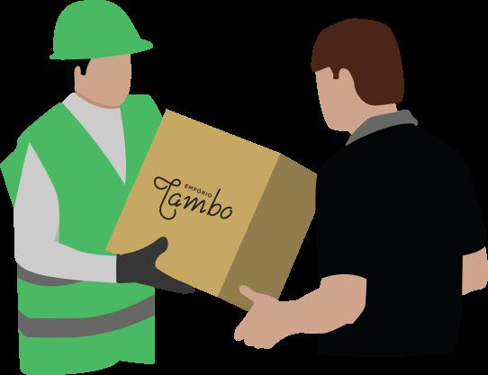 Entregador entregando mercadoria para cliente