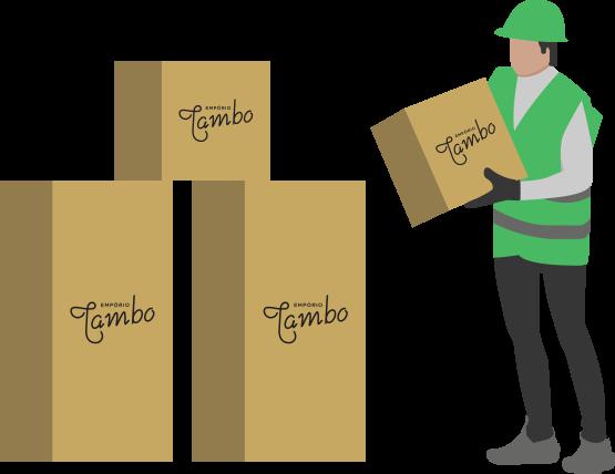 Pessoa carregando caixa com mercadoria