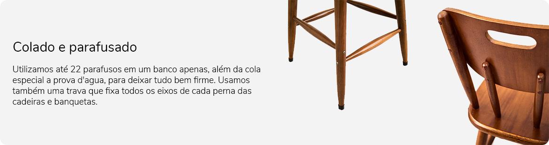 Cadeira colada e parafusada