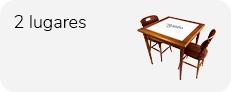 conjunto mesa de 80 x 80 cm com azulejo e 2 cadeiras