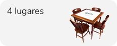 conjunto mesa de 80 x 80 cm com azulejo e 4 cadeiras