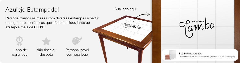 mesa com azulejo estampado