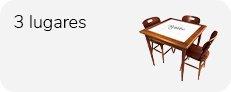 conjunto mesa de 80 x 80 cm com azulejo e 3 cadeiras