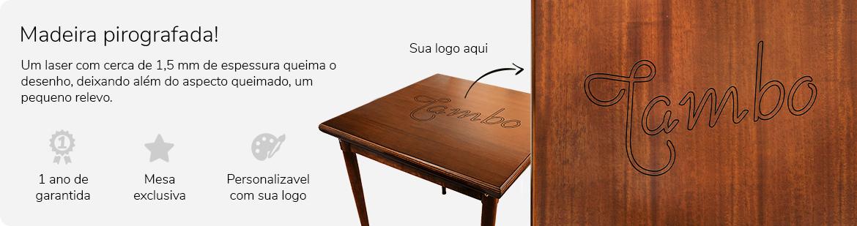 mesa de madeira pirografada