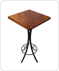 Mesa bistro alta quadrada de madeira