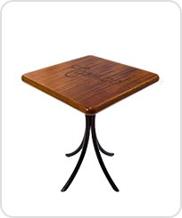 Mesa bistro baixa quadrada de madeira
