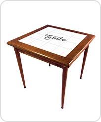 Mesa bistro baixa quadrada de 80 cm de azulejo