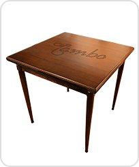 Mesa bistro baixa quadrada de 80 cm de madeira
