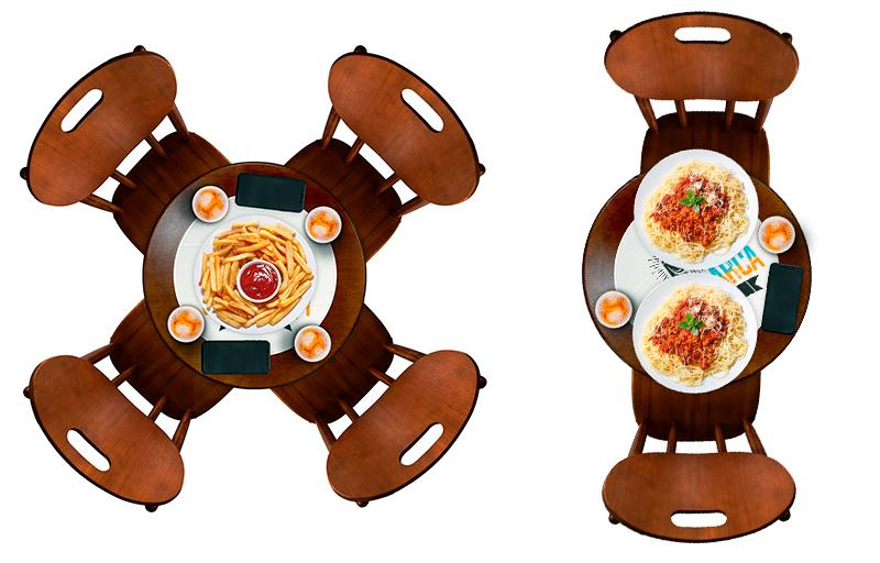 Mesa ideal para refeições com pratos pequenos