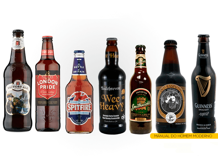 7 garrafas diferentes de cervejas inglesas