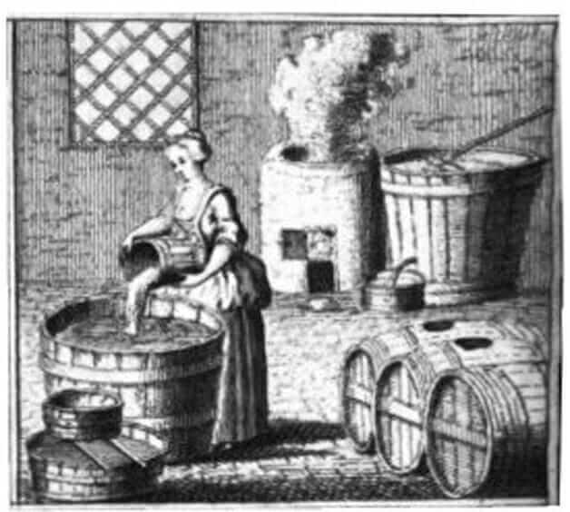 Ilustração de uma mulher fazendo cerveja na antiguidade