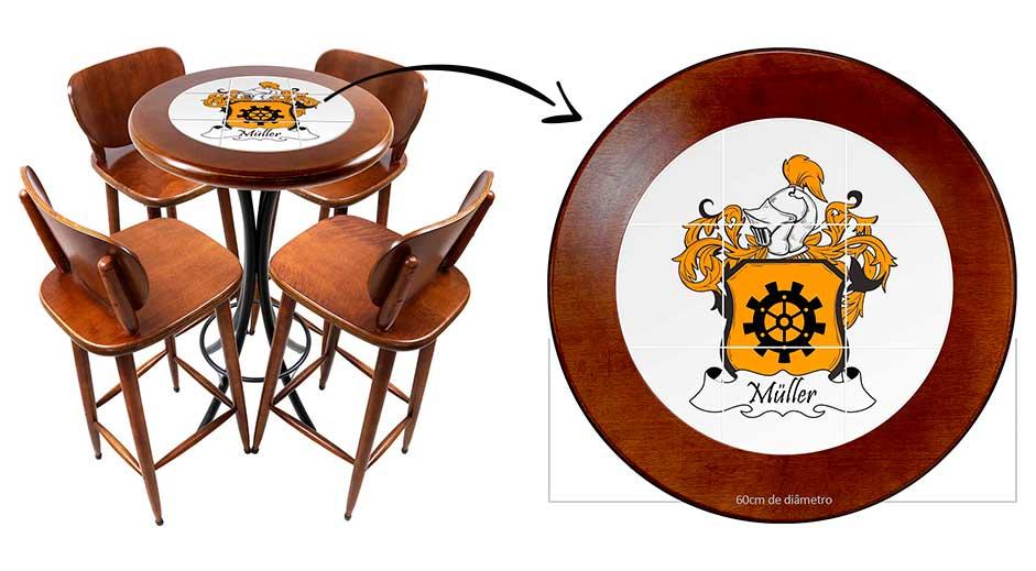 Inspiração: Personalize mesas com o brasão do seu sobrenome ou família