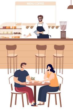 Desenho clientes sentados no estabelecimento
