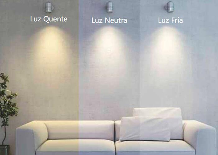 Sofá sobre iluminação de 3 tons, Quente(amarelada), Neutra e Fria ( Branca )