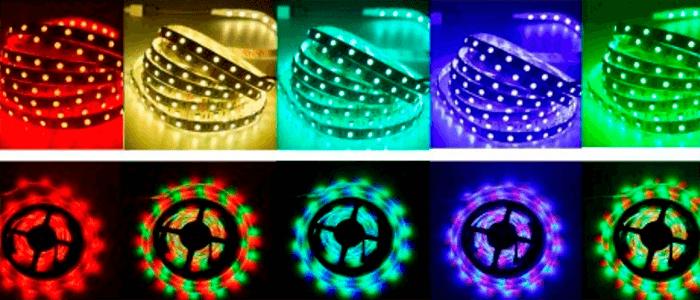 Fitas de LED coloridas