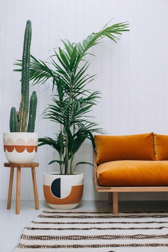 Vasos de cacto e palmeira ráfia ao lado de poltrona laranja