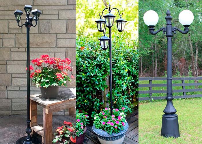 Montagem com três tipos de postes para jardim