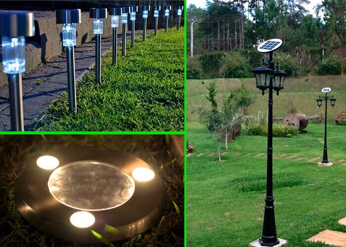 Montagem com três tipos de iluminação a base de luz solar