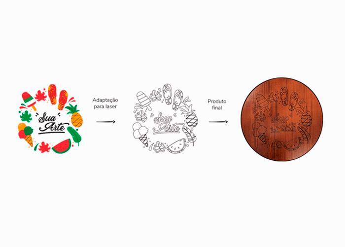 Desenho de frutas coloridos e preto com estampa na madeira.