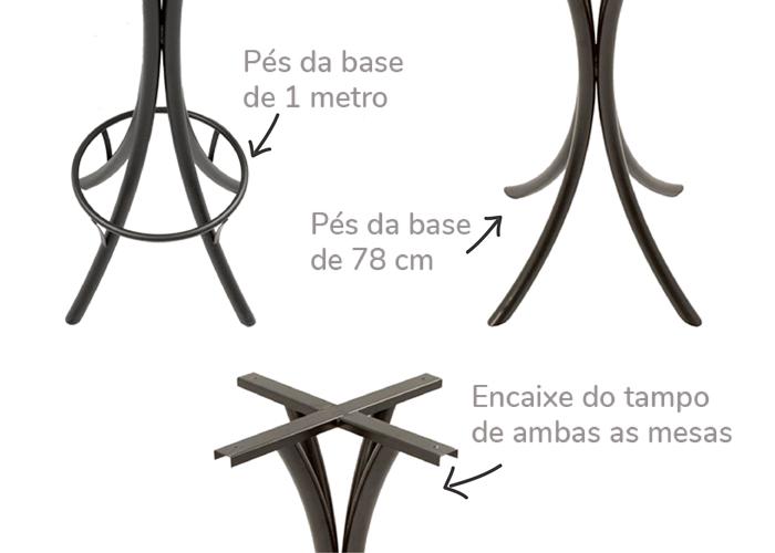 Base para mesa de ferro com os dois modelos de pés. Foto mostrando detalhe