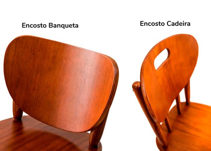 Foto de dois encostos, um de cadeira e outro de banqueta